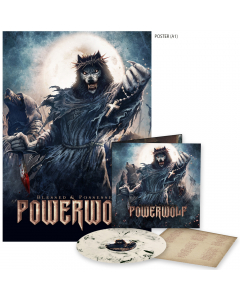 Powerwolf Blessed and Possessed Creamy white black marbled vinyl poster