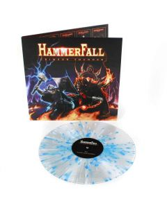 54730 hammerfall crimson thunder clear-blue-white splatter lp power metal
