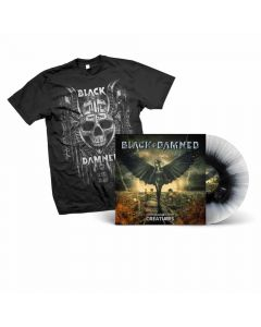 black and damned heavenly creatures white black splatter vinyl shirt bundle