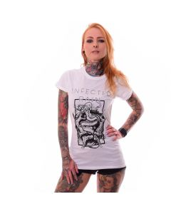 k58417 Kristy von Kashyyyk Model Heavy Metal Merch Infected Rain Girl T-Shirt White