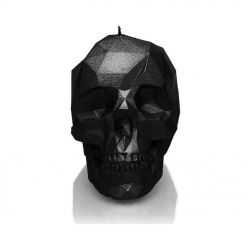 CANDLES - Large Low Poly Skull / Candle - Black Metallic