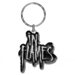 in flames logo key ring