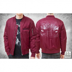 Satyricon Wolf Bordeaux Bomber Jacket front and back